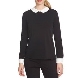 NWT CeCe Collared top, Black, Size M